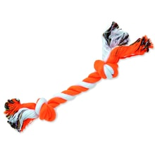 DOG FANTASY Baumwolle orange-weiß 2 Knoten 25 cm