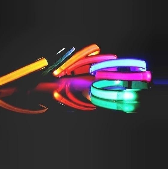 Reedog Colour svítící obojek pro malé, střední a velké psy - červená 42 - 60 cm