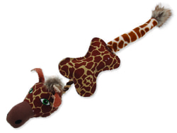 Hračka DOG FANTASY textilní žirafa s provazem 52 cm